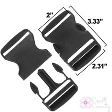 15 Pack 2 Inch Side Release Black Plastic Buckles Craft County