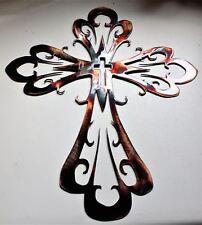 "Curved Ornamental Cross Metal Wall Art Decor Copper/Bronze 17"" x 14"""