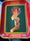 1927 COCA COLA TRAY-ANTQ-AUTHENTIC-ORIG LITHOGRAPH-WOMAN SIPPING COKE-13IN-(5)