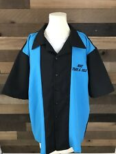 Vintage Bowling Shirt Nike Track And Field Mens Size Xl Blue Black Rare