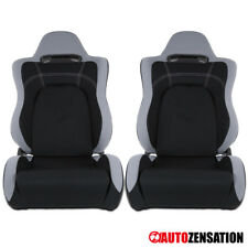 (Left+Right) Stylish Black W/Gray Trim Cloth Sports Design Racing Seats Pair