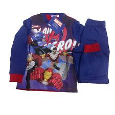 Avengers Schlafanzug aus Baumwolle Blau Jersey und Hosen Lang Verschiedene