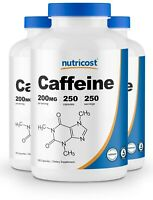 Nutricost Caffeine Pills (3 Pack) - 250 Capsules, 250 Servings Each; 200mg Caps