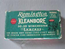 Vintage REMINGTON KLEANBORE 30-30 WINCHESTER Bullet Ammunition EMPTY BOX