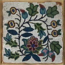 """1890s NATIVE AMERICAN CREE INDIAN BEAD DECORATED FLORAL PANEL - 9.5"""" BY 9.5"""""""