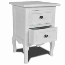 vidaXL Nightstand with 2 Drawers MDF White Bedroom Bedside Table Cabinet Stand
