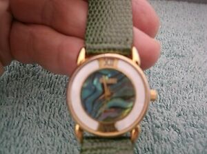 Vintage Ladies' Gitano Quartz Watch~ Green Band~Abalone On Dial ~ New Battery