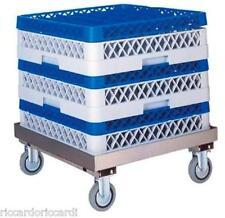 Carrello porta cestelli per lavastoviglie cm 52x58x20H in acciaio senza manico
