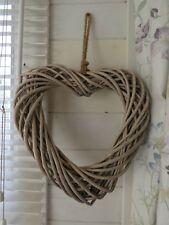 Wicker hanging Heart wreath - Natural -  35 cm x 37 cm