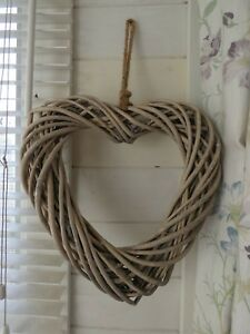 Wicker hanging Heart wreath - Natural -  35 cm x 37 cm