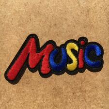1pc Music Note Sound Embroidered Cloth Iron On Patch Applique Band 70's #1042