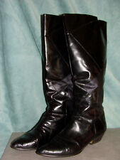 NICKELS Mustang Leather Black Boots Womens Size 8AAA Italy