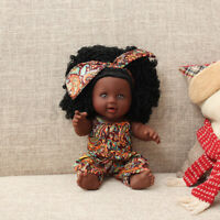 """12"""" African American Reborn Black Baby Girl Doll Toy W/ Coral Printed Jumpsuit"""