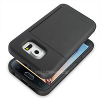 Galaxy S6 Card Slot Wallet ID Holder Case[Kick-Stand]Dual Layer Armor Protection