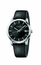 Calvin Klein Infinite Silver/Black Leather Quartz Women's Watch K5S311C1
