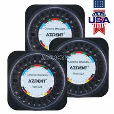 AZDENT Dental Orthodontic Brackets Ceramic Braces 5*5 Roth 0.022 3-4-5 Hook 3Box