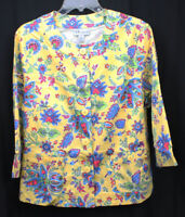 The Tog Shop Jacket Blazer Floral Scoop Neck 3/4 Sleeve Yellow Floral XL NWT New