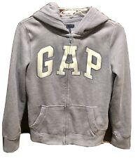 Girls Heather Gray Logo Front Hoodie Jacket Medium (8) Satin Logo NWOT