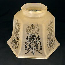 Vintage Art Deco Acid Etched Peach Frosted Glass Chandelier Ceiling Light Shade