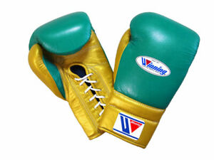 Winning Boxing gloves Lace up 16oz Green x Gold from JAPAN FedEx tracking NEW -A
