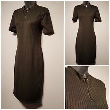 Size 12 Dress Khaki Green Ribbed Funnel Neck Excellent Condition Women's Bodycon
