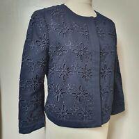 LK BENNETT (UK Size 14) Navy Blue Blazer Jacket Smart Suit 3/4 Long Sleeves