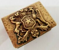 Vintage BRASS Match box Book Cover Case MILITARY / COAT OF ARMS / 3D / 2 X 1 1/2