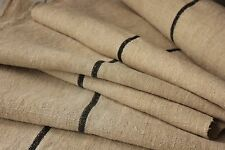 Black fabric Vintage Grain Sack fabric material linen 2.7 yards Black stripe