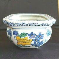 """Vintage Ceramic Planter AAA Imports Blue/Yellow Flowers  3 1/2"""" x 5 1/4"""" Used"""
