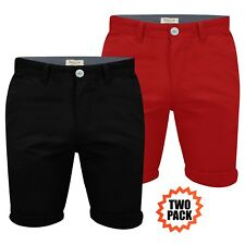 Mens Chino Shorts Stallion Double Pack Cotton Casual Jeans Half Pants Cargo New