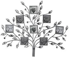 Multi Photo 8 Frame Silver Metal Jewel Family Tree Wall Art Mounted Hanging NEW