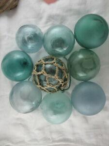 9 Beach Combed Japanese Glass Floats VINTAGE & Lots of Variety Alaska BeachBUM