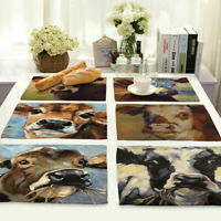 Cotton Linen dairy cattle Insulation Bowl Placemat Coasters Table Mats