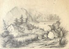 Lac du Bourget ruine crayon vers 1850 anonyme Alpes