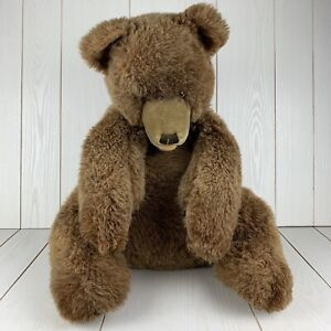Vintage Steiff Teddy Bear Brown Sitting Large Collectible Stuffed Animal Toy
