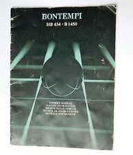Bontempi manual HB 434 B1450 electric organ electronic keyboard instruction book
