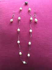 Freshwater Pearl Sterling Silver Necklace and Earrings Set Handmade