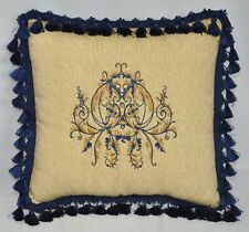 "Custom Embroidered Ralph Lauren Northern Cape Tan Raffia Fabric Pillow 16""  NEW"