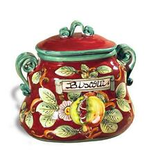 Intrada Italian Ceramic Pomegranate Accent Biscotti Jar Canister Made in Italy