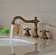 Antique Brass Widespread Roman Bathroom Faucet 3 Hole Basin Mixer Tap Ban030