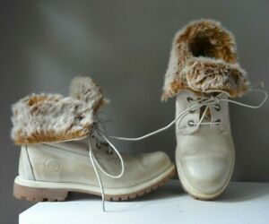 TIMBERLAND LIGHT BEIGE GENUINE LEATHER ANKLE BOOTS with THICK FAUX FUR CUFF