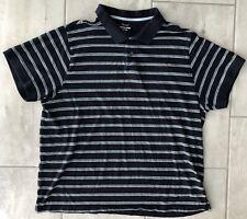 Canyon River Blues Shirt Black/White Stripe Cotton Short Sleeve Mens SZ XXL