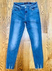LUCKY BRAND Womens Midrise Ava Legging Super Skinny Jeans Frayed Hem Size 4/27
