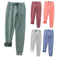 Winter Women Plus Fleece Warm Sports Pants Casual Sweatpants Solid M-2XL