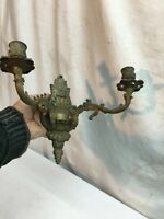 Vintage French Style Double Arm Brass Wall Sconce Candle Holder Mid Century