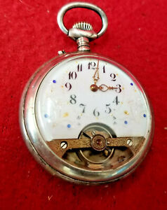 Most Unusual 8 Day Running Pocket Watch With Porcelain Dial &Visible Escapement