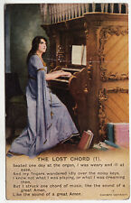 BAMFORTH SONG CARD #4830/1 - The Lost Chord - Church Organ - c1910s era postcard