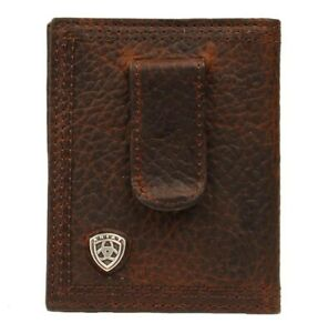 Ariat Mens Front Pocket Rowdy BiFold Money Clip Wallet Brown A35124282