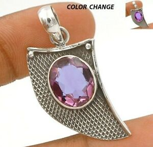 4CT Color Changing Alexandrite 925 Solid Sterling Silver Pendant Jewelry CT23-9