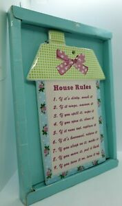 Ceramic Wall Plaque House Rules Kitchen Wall Gift Idea Present Housewarming Gift